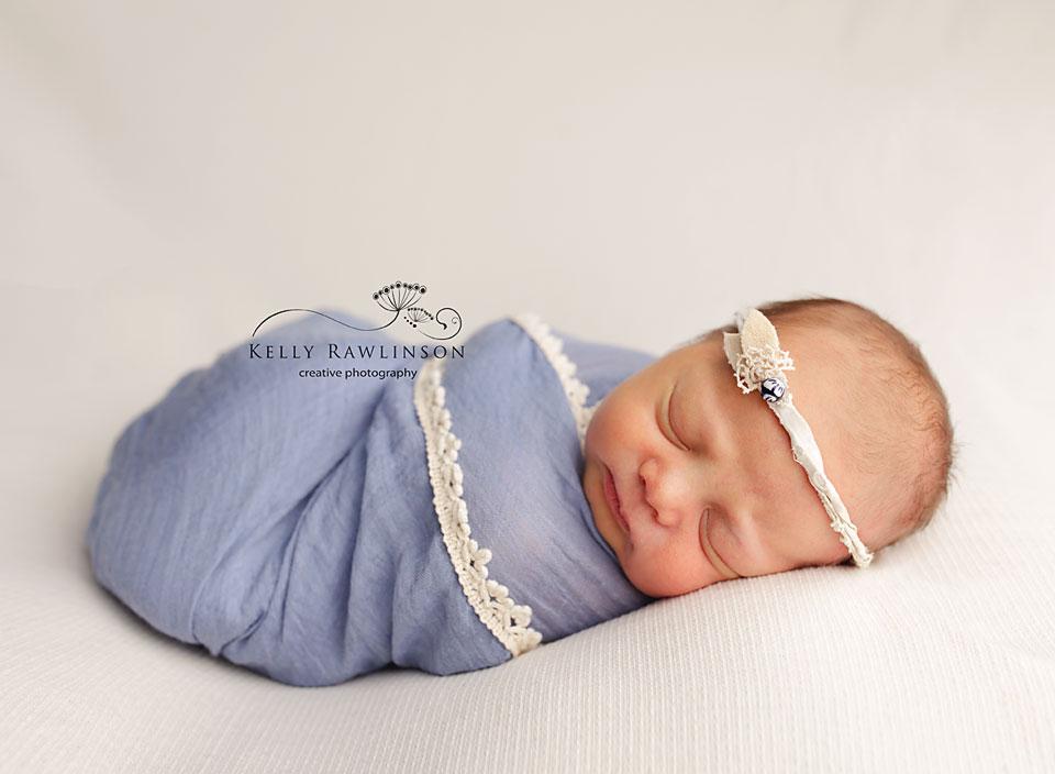 Bradford Newborn Photography, sweet baby girl in blue.