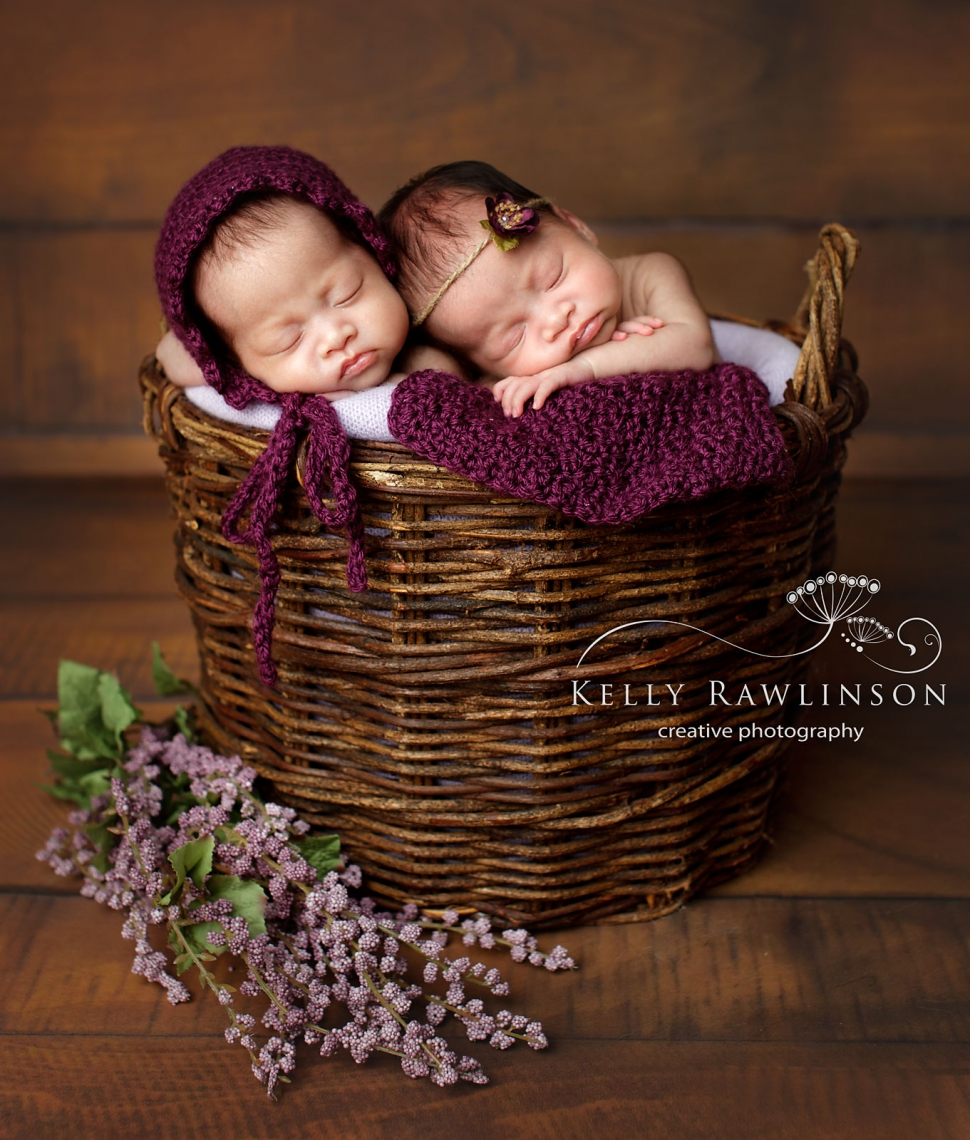 Aurora twin girls professional newborn photography