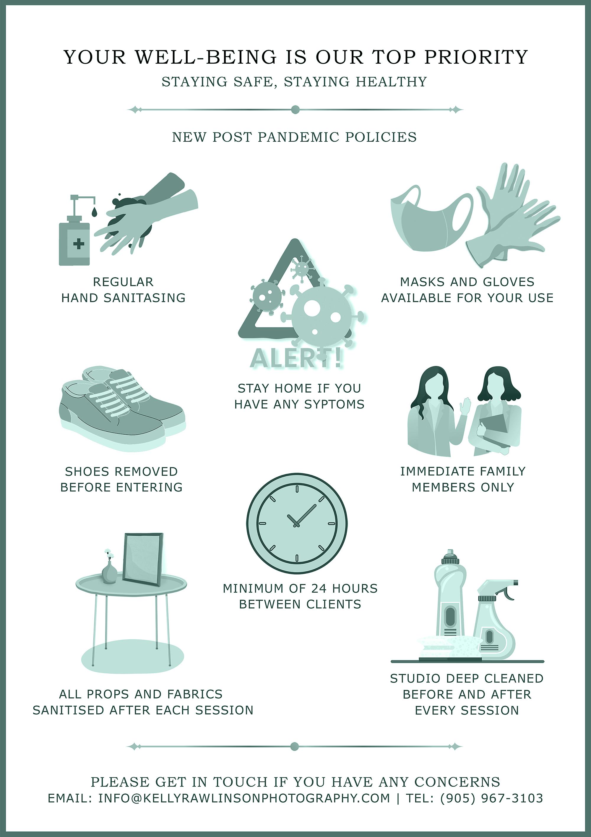 Covid 19 precautions in the photo studio